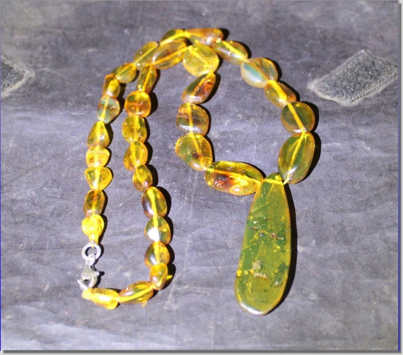 Dominican Natural Clear Orange Green Amber .925 Sterling Silver Necklace 19.1 inch