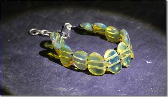 Dominican Natural Clear Light Blue Amber .925 Sterling Silver Bracelet 6.6inch  +ext