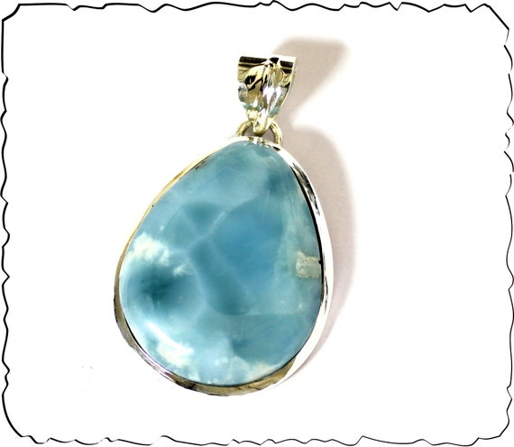 Exquisite Natural Sky Blue Larimar .925 Sterling Silver Pendant 1.9inch