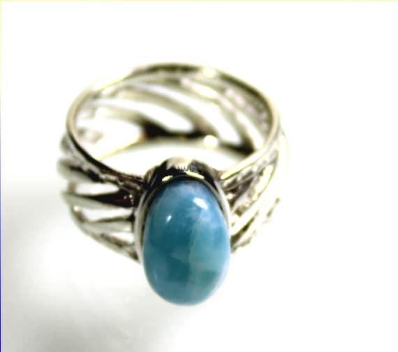 Impressive Natural Sky Blue Larimar .925 Sterling Silver Ring #10  unisex for men