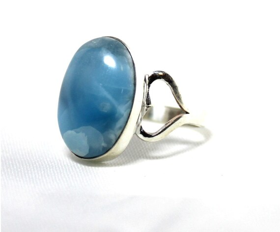 Excellent Natural Genuine Volcanic Blue Larimar .925 Sterling Silver Oval Ring #6.5