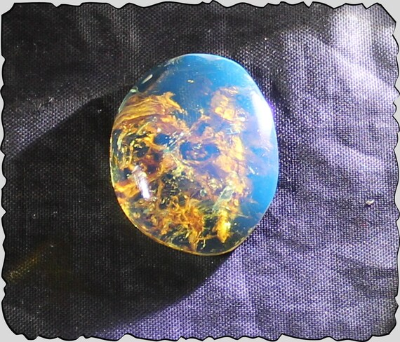 Impressive Dominican Natural Clear Sky Blue Amber Cabochon 28x22x7mm 12.5ct