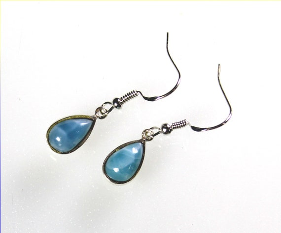 Lovely Natural Volcanic Blue AAA++ Larimar .925 Sterling Silver Earrings 1.3inch