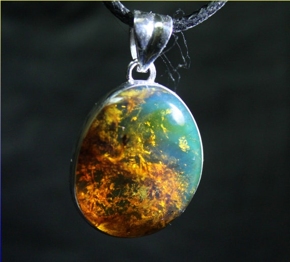 Excellent Dominican Natural Clear with Impurities Sky Blue Amber .925 Sterling Silver Pendant 35mm
