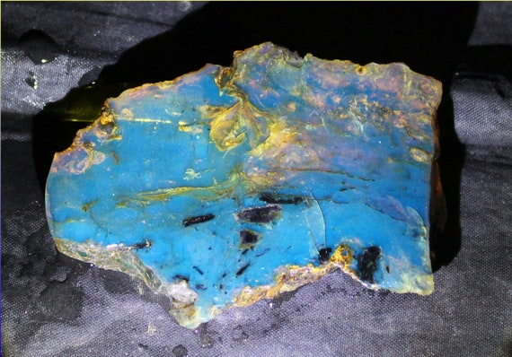 Splendid  Dominican Natural Clear Deep Blue Amber Slab 70x50x8mm 18g