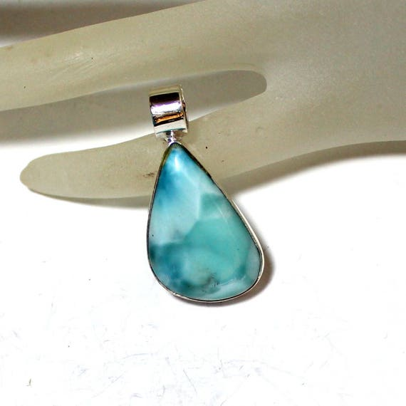 Excellent Light Blue Larimar .925 Sterling Silver Pendant 1.5 inch C-02-1776