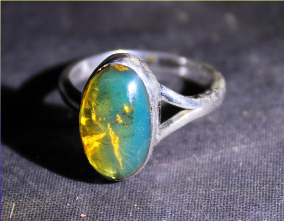 Dominican Natural Clear Sky Blue Amber .925 Sterling Silver Ring #6