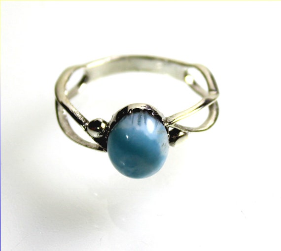 Prettily Natural Sky Blue Larimar .925 Sterling Silver Ring #10