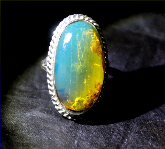 Premium 1.1inch big Natural Clear Sky Blue AAA++ Amber .925 Sterling Silver Ring #8.5