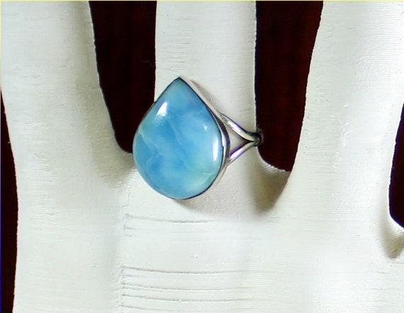 Impressive Natural Sky Blue Larimar .925 Sterling Silver Ring #8