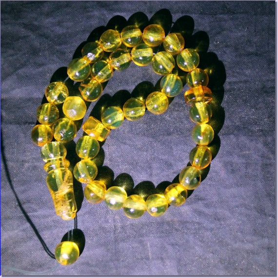Dominican Clear Yellow Green Amber Misbaha,worry Beads Islamic Prayer Beads Komboli 6.5mm