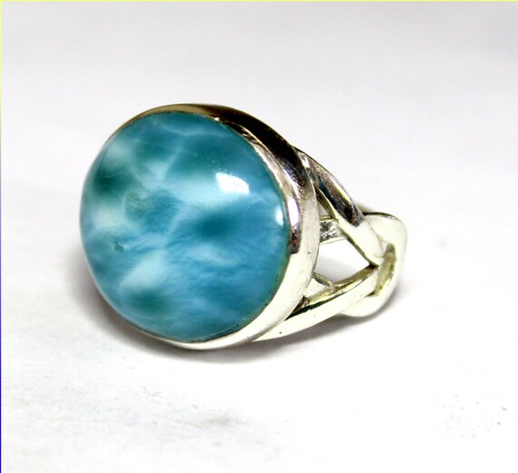 Excellent Natural Volcanic Blue AAA++ Larimar .925 Sterling Silver Ring #8.5
