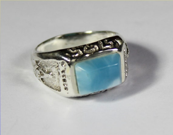 Hugh 12x9mm Sky Blue Larimar .925 Sterling Silver Masons Freemasonry Ring #11 for men