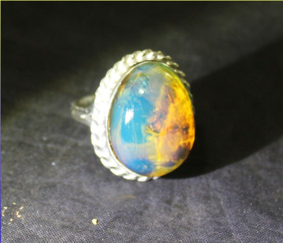 Outstanding 21mm Dominican Natural Clear Sky Blue Amber .925 Sterling Silver Ring #9