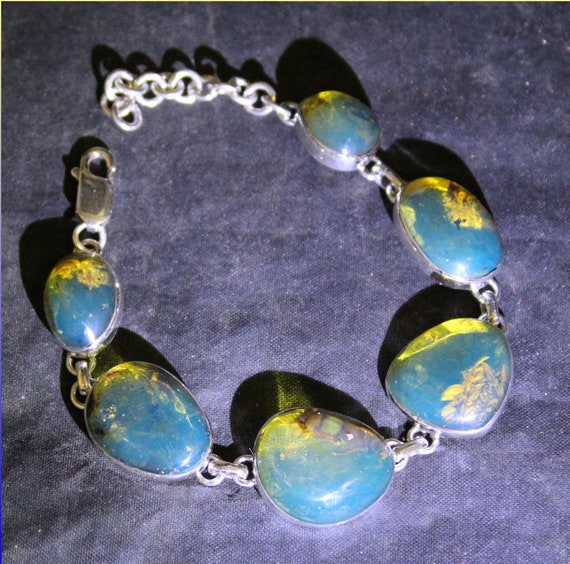 Dominican Natural Clear Sky Blue Amber .925 Sterling Silver Bracelet 6.5inch +ext