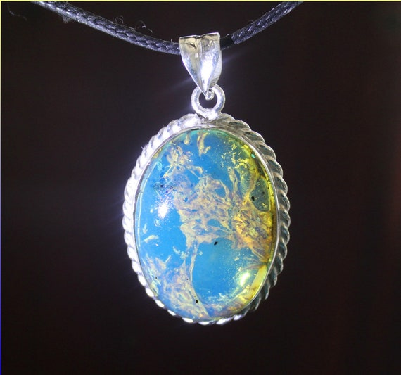 Premium 1.9inch Dominican Natural Clear Sky Blue Amber .925 Sterling Silver Oval Pendant