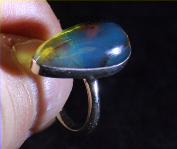 Dominican Natural Clear Deep Blue Amber .925 Sterling Silver Ring #8