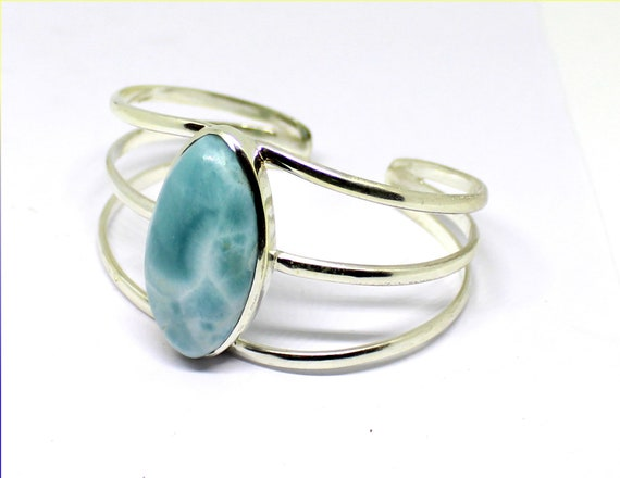 Exquisite Pattern Sky Blue Larimar .925 Sterling Silver Bangle 6.5inch
