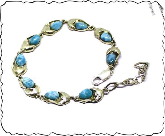 Excellent Natural Sky Blue Larimar .925 Sterling Silver Dolphin Bracelet 7 inch +ext.