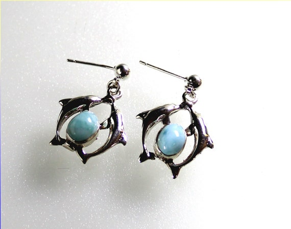 Lovely Sky Blue Larimar .925 Sterling Silver Dolphin Earrings 1.6inch C-85-1712