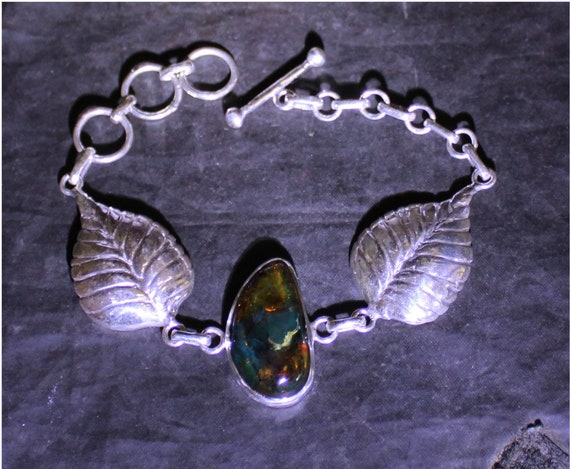 Dominican Natural Clear Deep Blue Green Amber .925 Sterling Silver Bracelet 65inch +ext