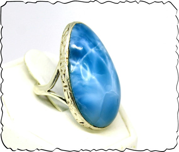 Premium 1.2inch  Natural Volcanic Blue AAA++ Larimar .925 Sterling Silver Ring #6 free resizing