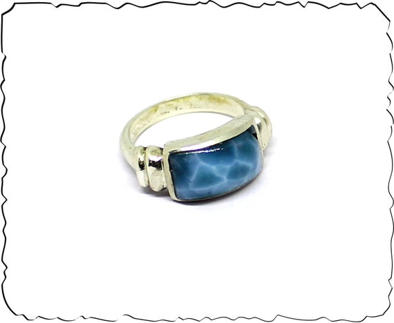 Museum Quality Natural Volcanic Blue AAA++ Larimar .925 Sterling Silver Ring #8
