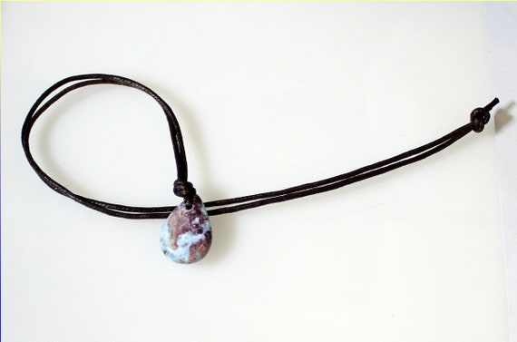Rarest Natural Sky Blue Red Larimar Leather Necklace 1.2 inch