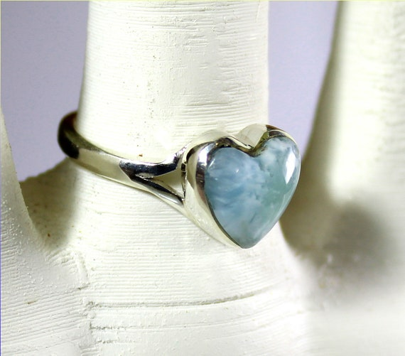 Prettily Natural Ocean Blue Larimar .925 Sterling Silver Heart Ring #8