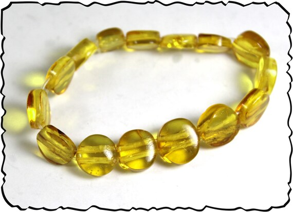 Exquisite Dominican Natural Clear Yellow Coin Disc Amber Stretch Bracelet 6.5inch