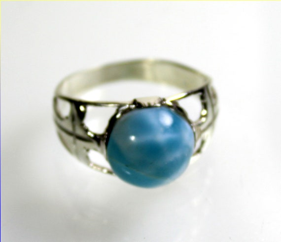 Excellent Natural Sky Blue AAA++ Larimar .925 Sterling Silver Ring unisex for men #12