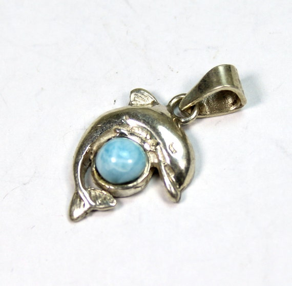 Lovely Sky Blue Larimar .925 Sterling Silver Dolphin Pendant 26mm C-73-1712
