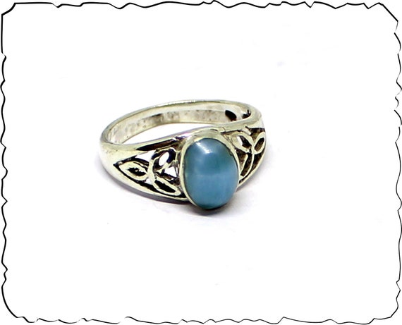 Exquisite Natural Sky Blue Larimar .925 Sterling Silver Celtic Ring #7  free resizing