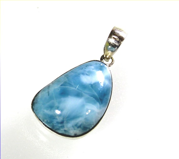 Exquisite Natural Sky Blue Larimar .925 Sterling Silver Pendant 34mm