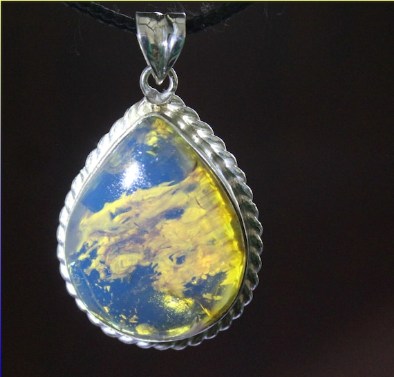 Hugh 1.8 inch Premium Natural Clear Sky Blue AAA++ Amber .925 Sterling Silver Pendant
