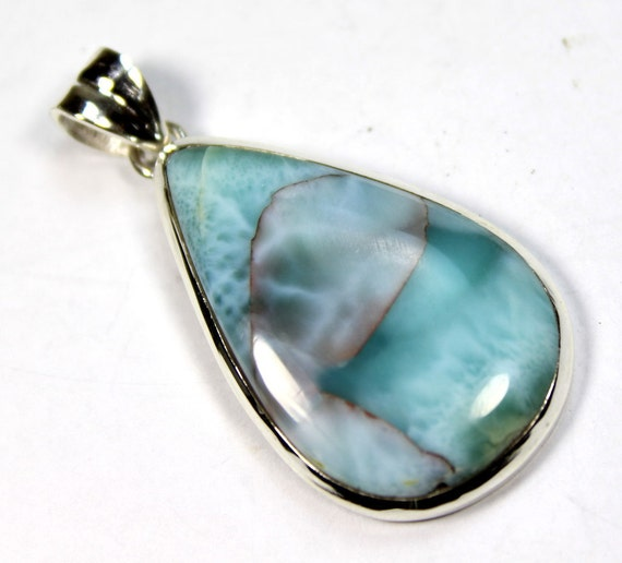 Never Seen Before Blue Pink Larimar .925 Sterling Silver Pendant 47mm C-23-1713
