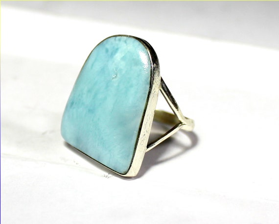 Charming Design Natural Light Blue Larimar .925 Sterling Silver Ring #9