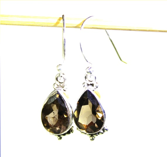 Excellent Natural Crystal Clear Brown Smoky Quartz .925 Sterling Silver Earrings 1.2inch