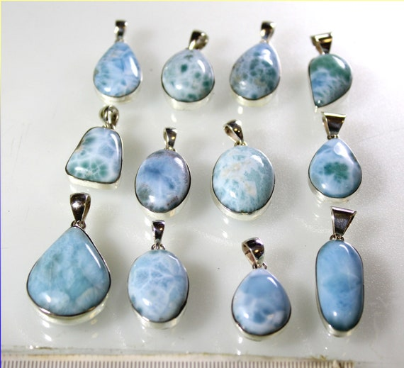 Wholesale Liquidation lot 12 Sky Blue Genuine Larimar .925 Sterling Silver Pendants 72 grams