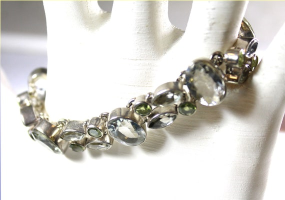 Exquisite Natural Clear Light White Zircon green Tourmaline .925 Sterling Silver Bracelet 6.5inch +ext