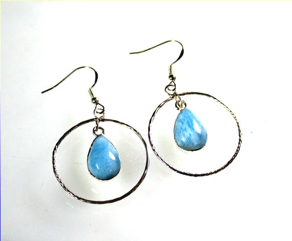 Exquisite Natural Sky Blue Larimar .925 Sterling Silver Loop Earrings 2inch
