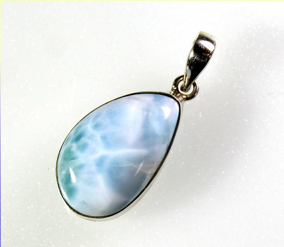 Lovely Natural Light Blue Larimar .925 Sterling Silver Pendant 34mm