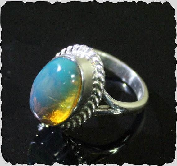 Impressive Premium AAA++ Natural Crystal Clear Sky Blue Amber .925 Sterling Silver Ring #6