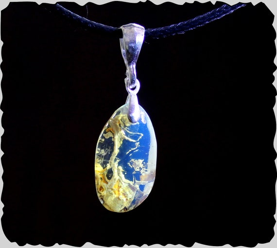Premium 1.4inch Dominican Natural Clear Sky Blue Amber .925 Sterling Silver Pendant