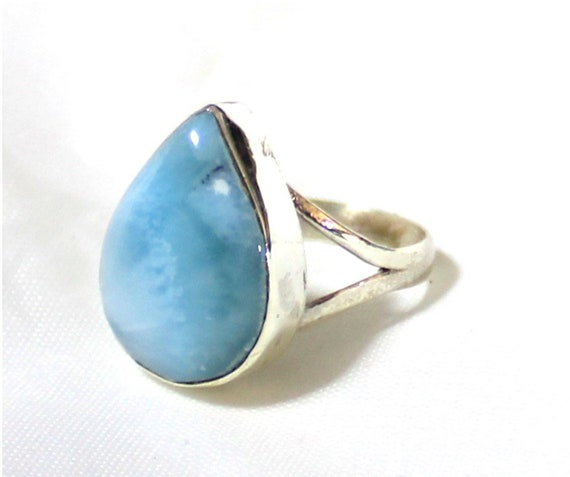 Splendid Natural Deep Blue Larimar .925 Sterling Silver Ring #6