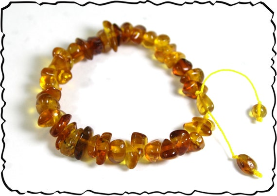 Exquisite Natural Clear Orange Yellow Nugget Amber Bracelet 6.2inch  adjustable