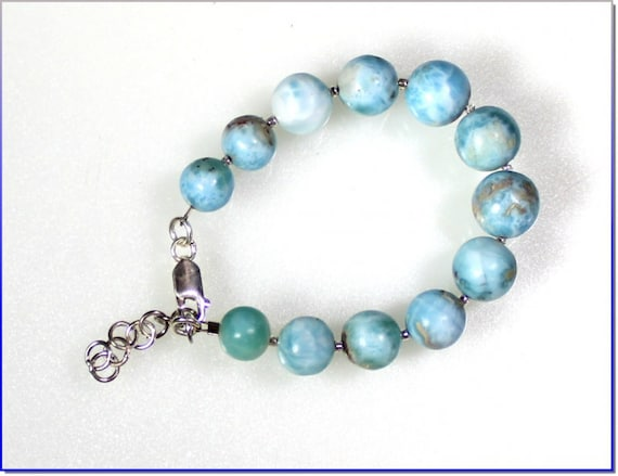 Exquisite Natural Sky Blue Larimar Round Bead Sphere .925 Sterling Silver Bracelet 7 inch +ext.