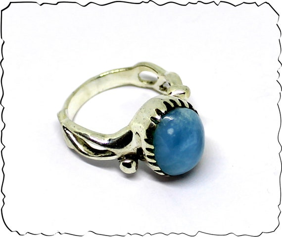 Outstanding Natural Volcanic Blue AAA++ Larimar .925 Sterling Silver Ring #8.5