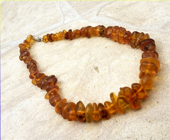 Dominican Natural Clear Orange Nugget freeform Amber .925 Sterling Silver Necklace 17inch