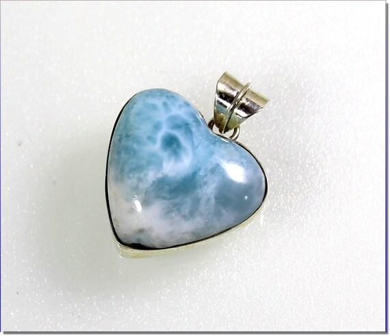 Lovely Natural Sky Blue Larimar .925 Sterling Silver Heart Pendant  31mm